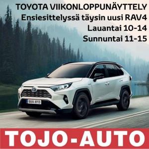Tervetuloa Toyota viikonloppunäyttelyyn 11-13.1! Ensiesittelyssä täysin uusi Toyota RAV4 sekä Suomen laajin hybridimallisto. Toyota RAV4 muuttaa jälleen katumaasturiluokkaa! Mallissa yhdistyvät uuden aikakauden hybridivoima ja luokkansa paras polttoainetaloudellisuus. Massasta erottuvan muotoilun ohella vaikutuksen tekevät huippuluokan ajokokemus sekä turvallisuutta parantava teknologia!