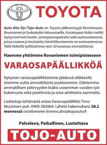 Haemme Rovaniemelle varaosapäällikköä - vinkkaa kaverille tai laita itse hakemusta tulemaan!