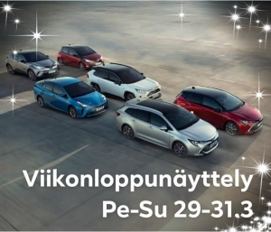 Viikonloppunäyttely Tojo-Autossa pe-su 29.-31.3. Ensiesittelyssä uusi Corolla Hybrid perhe. Tervetuloa!